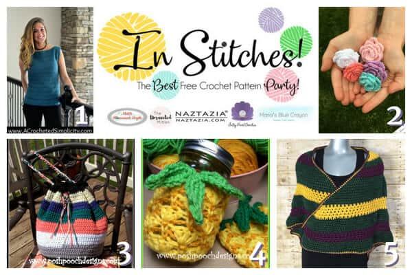 In Stitches Crochet Link up Party featuring bags, shirts, scarves, roses and pineapples