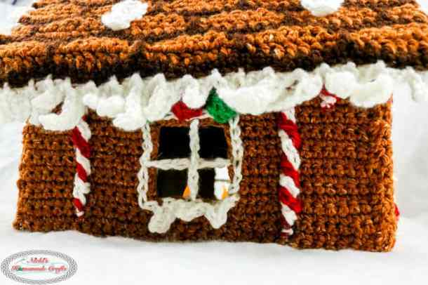 Gingerbread House Crochet Window with Candy Canes