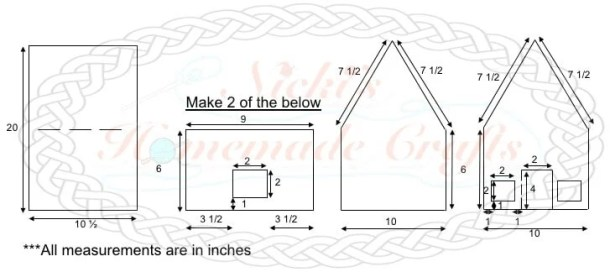 Measurement diagram of the cardboard cut outs for the Gingerbread House