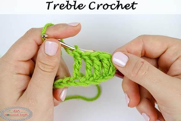 How to crochet a treble crochet stitch