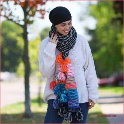 boho tassel scarf free crochet pattern