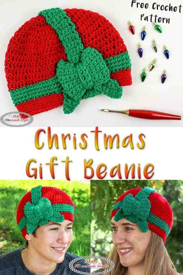 Christmas Gift Beanie - Free Crochet Pattern -worn by teen boy and woman
