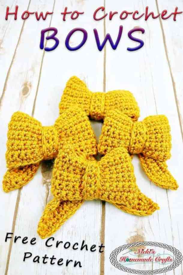 4 bows crocheted