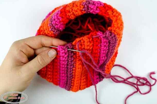 closing the Spiral Pumpkin sewing