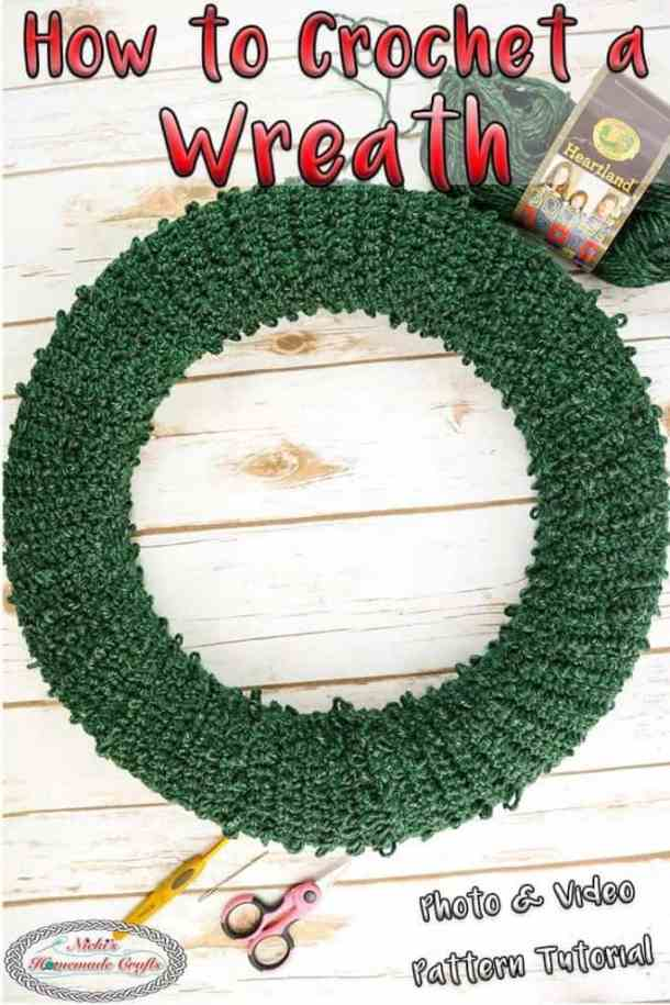 crocheting a wreath with pine needles