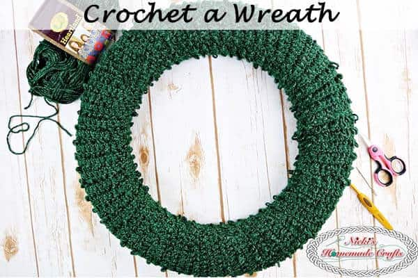 crocheted pine needle wreath for christmas