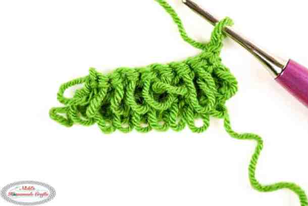 Loop stitch in 2 rows