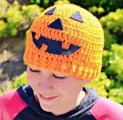 free crochet halloween beanie hat pattern