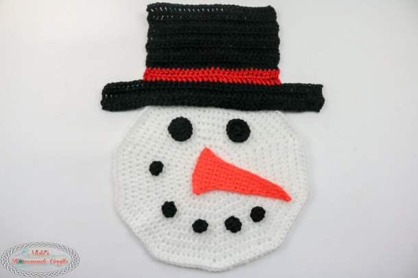 Crochet Snowman Face with Hat
