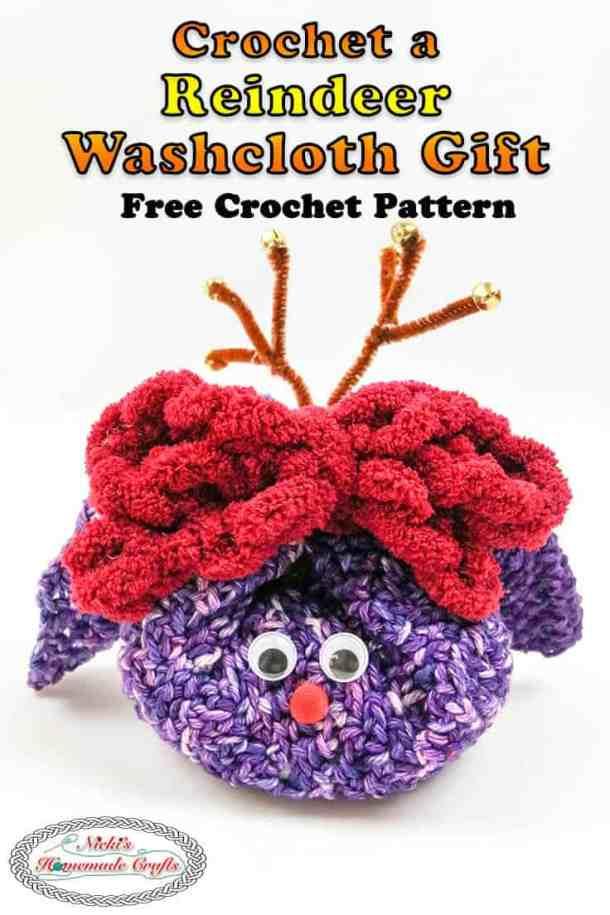 Reindeer Washcloth Gift - Free Pattern