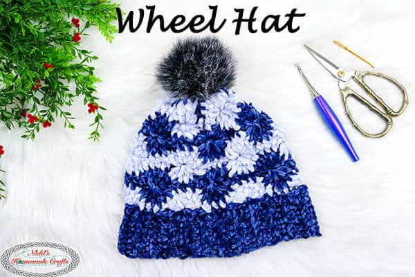 Wheel Hat with Velvet Yarn - free crochet pattern