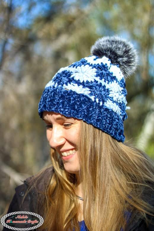 Crochet Wheel Hat with Velvet Yarn - Free Pattern