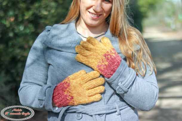 Yellow and red Knit-like Crochet Gloves