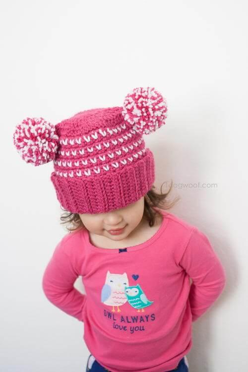 Lolly-Poms Sweetheart Beanie Hat Free Crochet Pattern