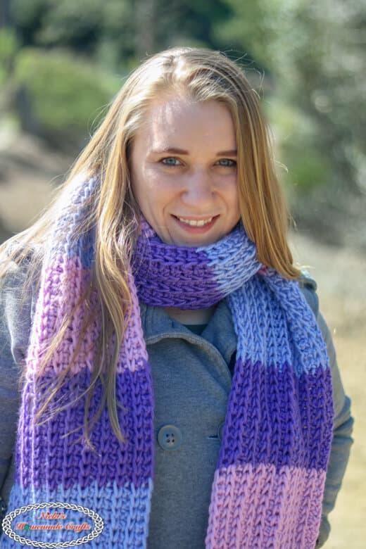 Beautiful super long scarf Tri-Color Tunisian - Free Crochet Pattern