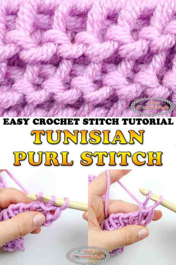Tunisian Purl Stitch - Free Crochet Tutorial - Video and Photos
