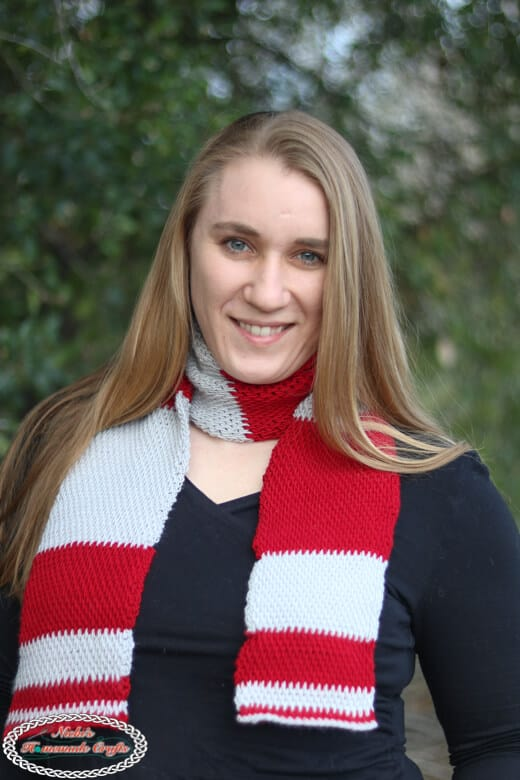 grey and red Tunisian Block Scarf free crochet pattern
