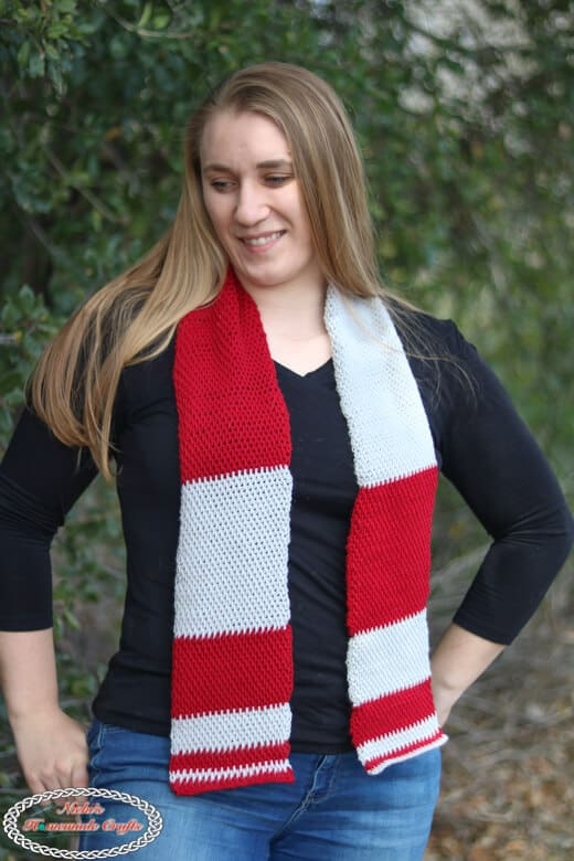 crochet Tunisian Block Scarf red and grey
