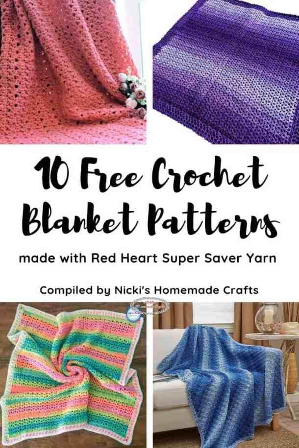 10 Free Crochet Pattern Blankets with Super Saver Yarn