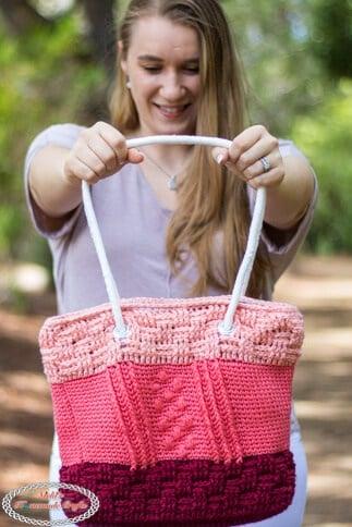 Bobble Basketweave Bag Free Crochet Pattern for Crochet Along