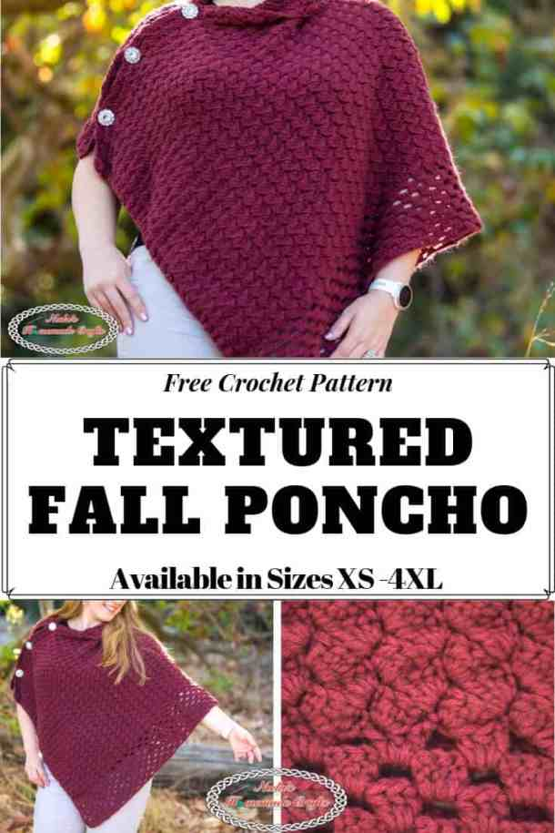 Crochet Pattern Textured Fall Poncho