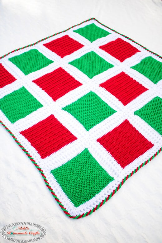 Holiday Square Blanket Crochet Pattern diagonal