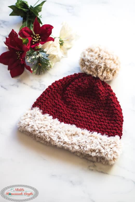Faux Fur Santa Suzette Hat - Free Crochet Pattern finished
