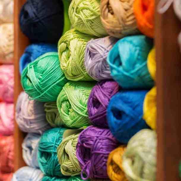 Yarn in shelving unit