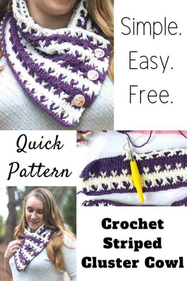 Striped Cluster Cowl Free Crochet Pattern