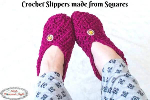Crochet Slippers made from Squares