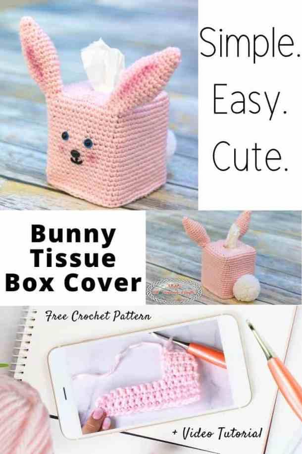 Bunny Tissue Box Cover Free Crochet Pattern