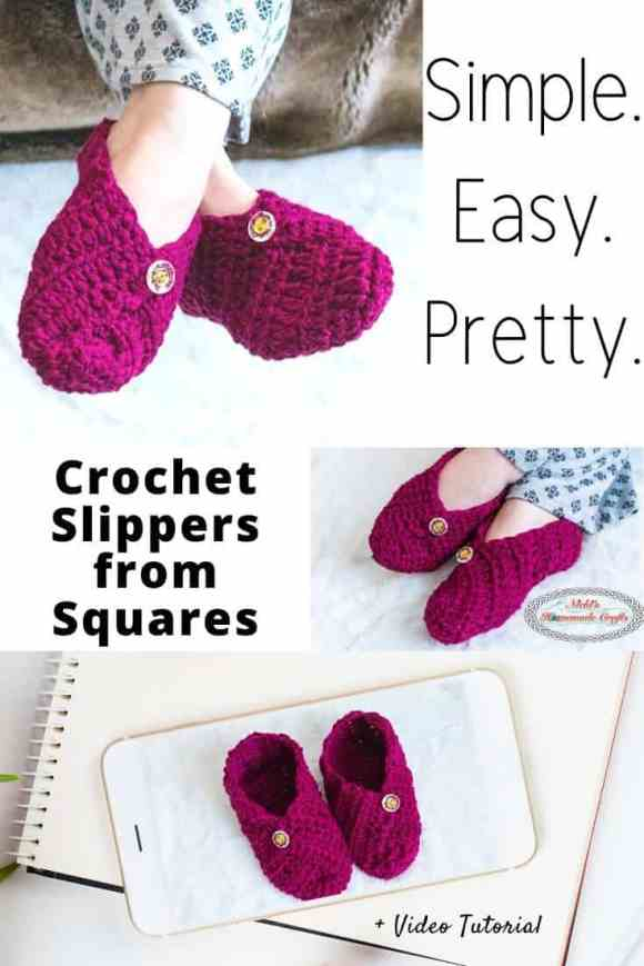 Crochet Slippers from Square plus video