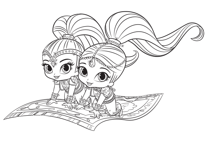 Shimmer and Shine: Magic Carpet Colouring Page