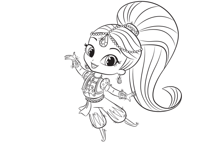 Shimmer and Shine: Shimmer Colouring Page