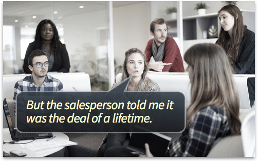 """Group Meeting: """"But the salesperson told me it was the deal of a lifetime"""""""