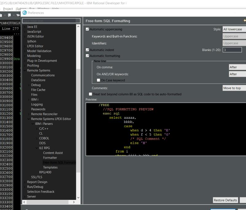 Use RDi to make RPGLE lowercase 2