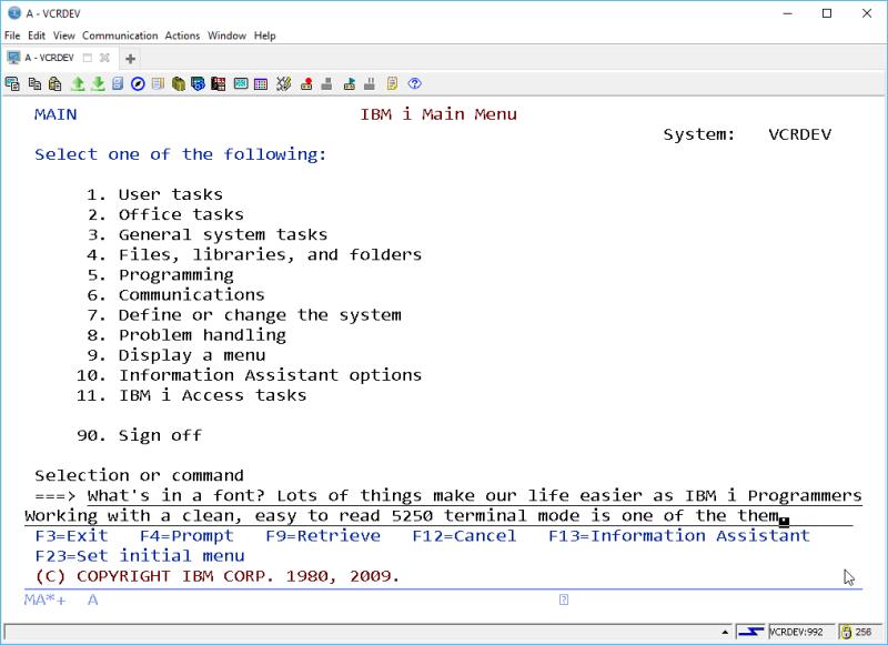 IBM i ACS 5250 EMULATOR FONT - and other ridiculous mumbo jumbo 4
