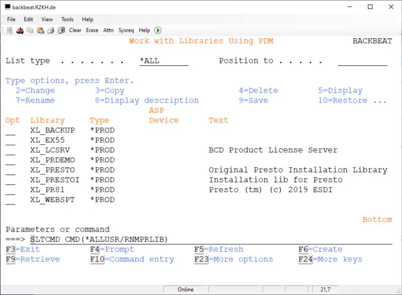 How to rename Fresche (BCD) Presto Library - XL_PRESTO 1