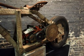 Wooden Motorcycle by Alvin Smallwood, made from scrap wood, chainsaw engine