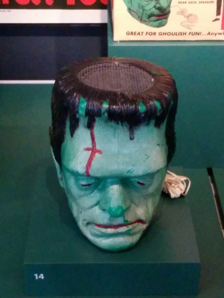 "Frankenstein monster head speaker, ""Great for ghoulish fun!..Anywhere!"""