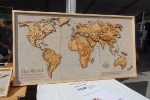 laser-cut world map