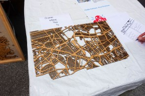 laser-cut Queens map portion