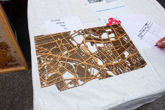 laser-cut Queens map portion