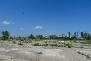 Willets Point and airplane over Flushing
