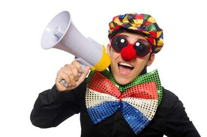 Self-deprecating clown
