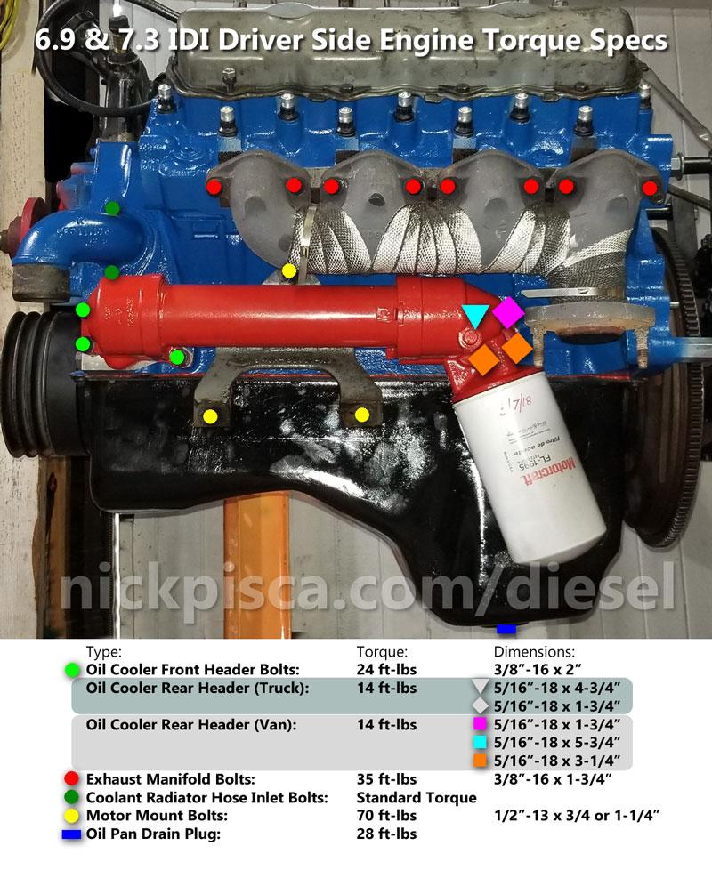 6 9 7 3 idi torque specs and bolt