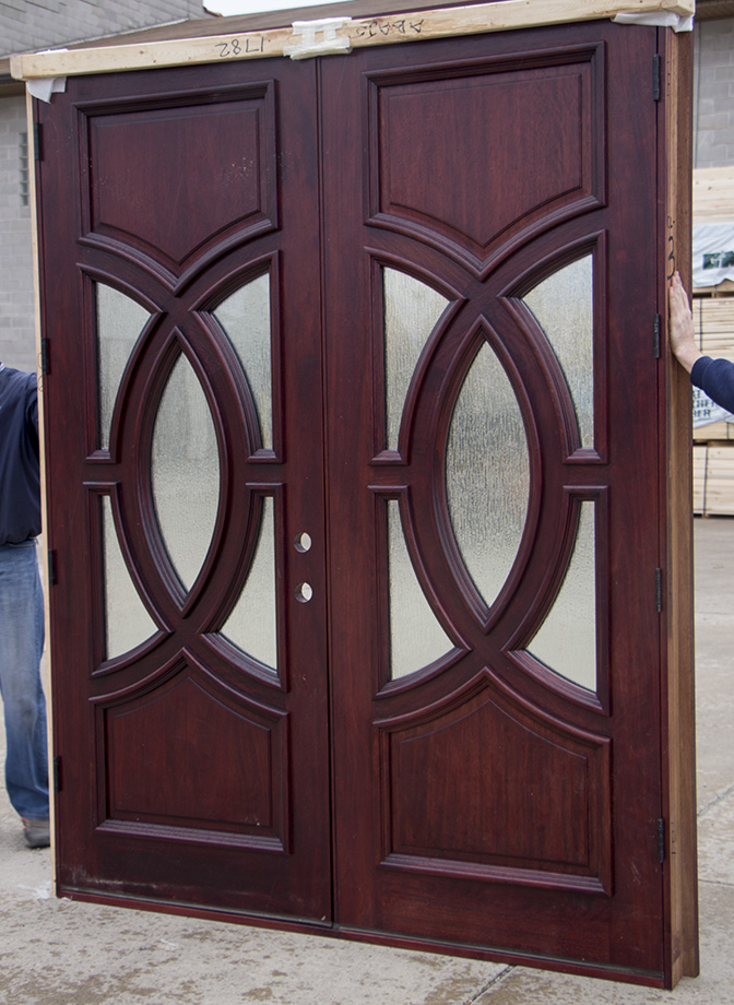 Clearance Exterior Double Doors In Red Mahogany