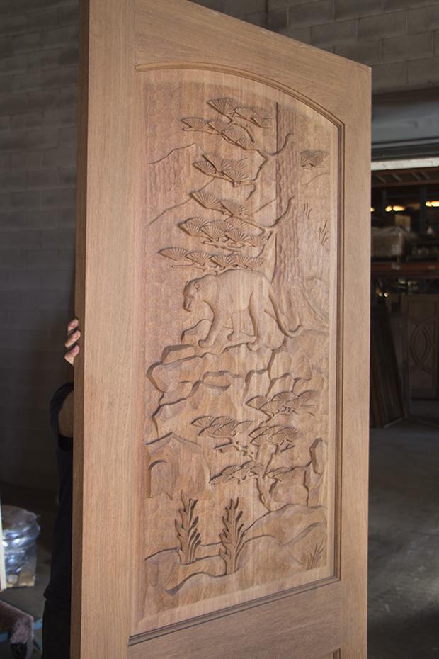 Mountain Lion Carved Door