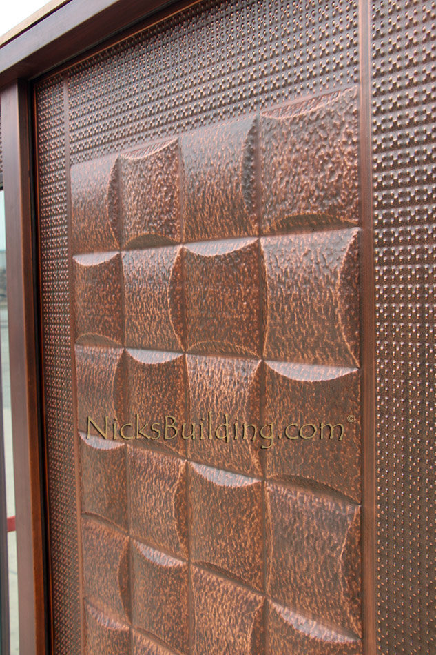 Copper Door with Sidelights  Lattice Design