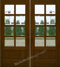 Mahogany Patio Doors 8-Lite French Doors Clear Beveled glass